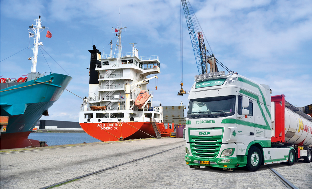 vrachtwagen dijkman en zoon in haven rotterdam